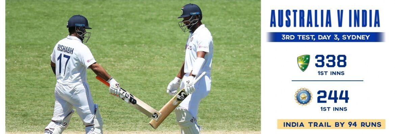 सिडनी टेस्ट (टी रिपोर्ट) : 94 रन पीछे रह गया भारत