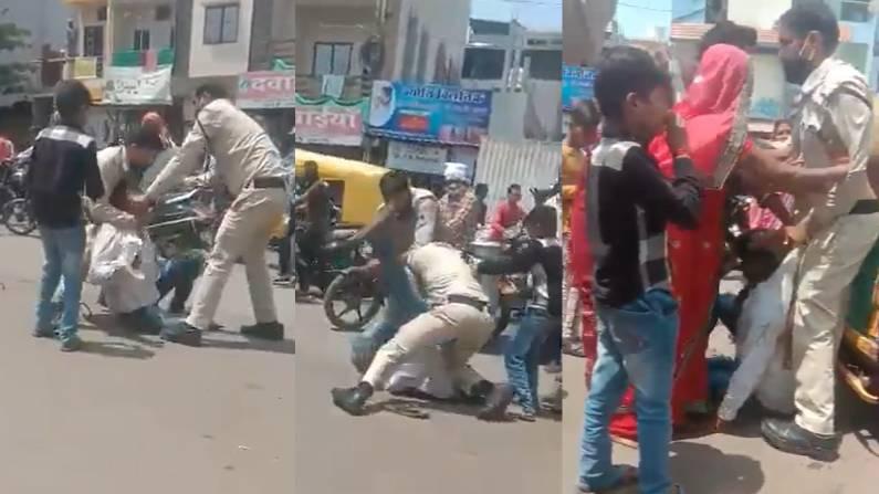 चेहरे से मास्क सरक गया, तो बिलखते मासूम के सामने पुलिस ने पिता की बेरहमी से की पिटाई